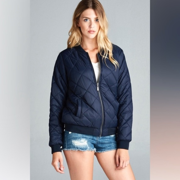 Jackets Coats Navy Blue Quilted Bomber Jacket Poshmark